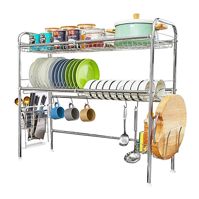 Amazon Com Heomu Over The Sink Disk Drying Rack 2 Tier Dish Drainers For Kitchen Counter Made Of Length Adjus Dish Rack Drying Dish Drainers Kitchen Counter