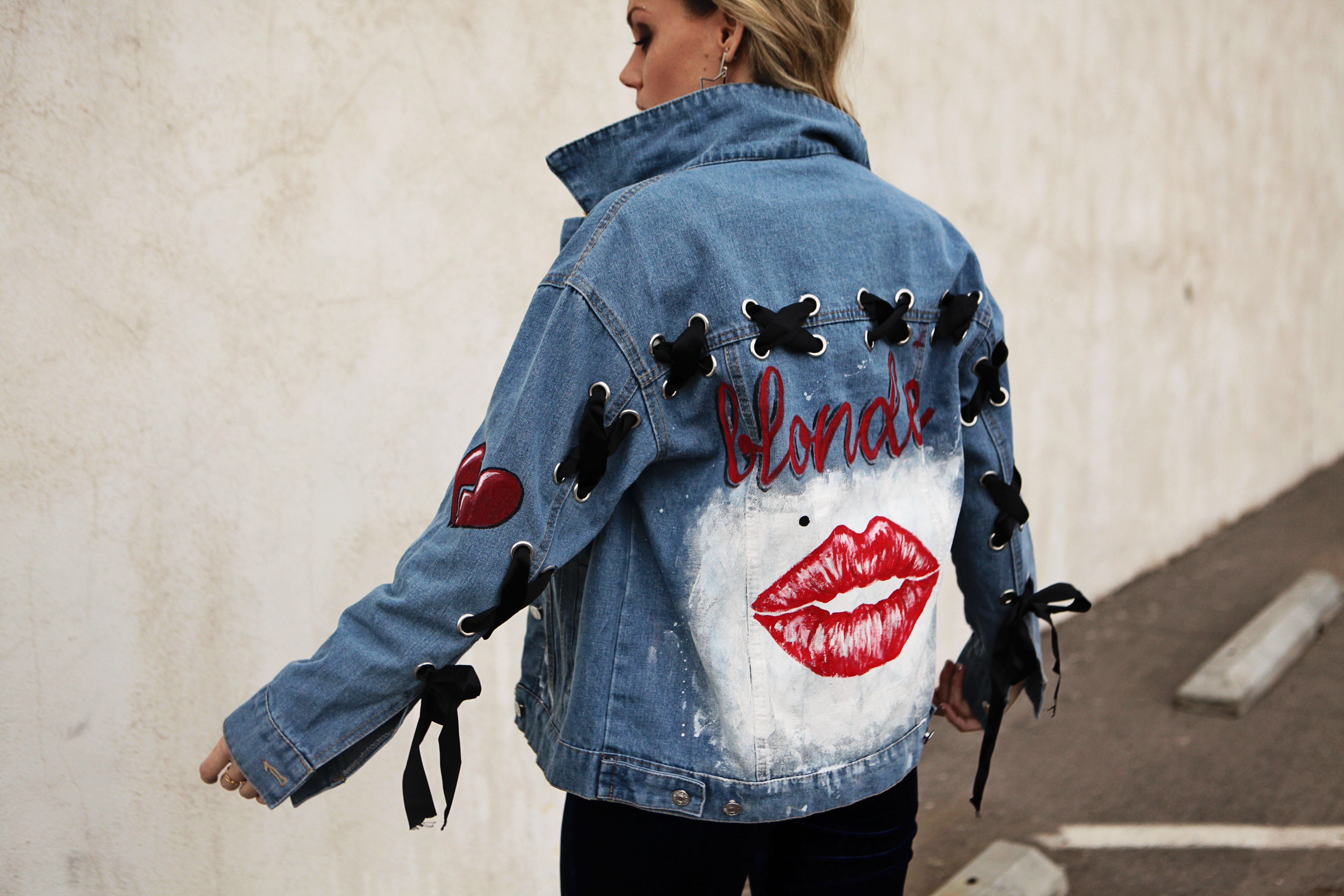 a1293c253 Marilyn Monroe famous lips hand painted denim jacket in 2019 ...