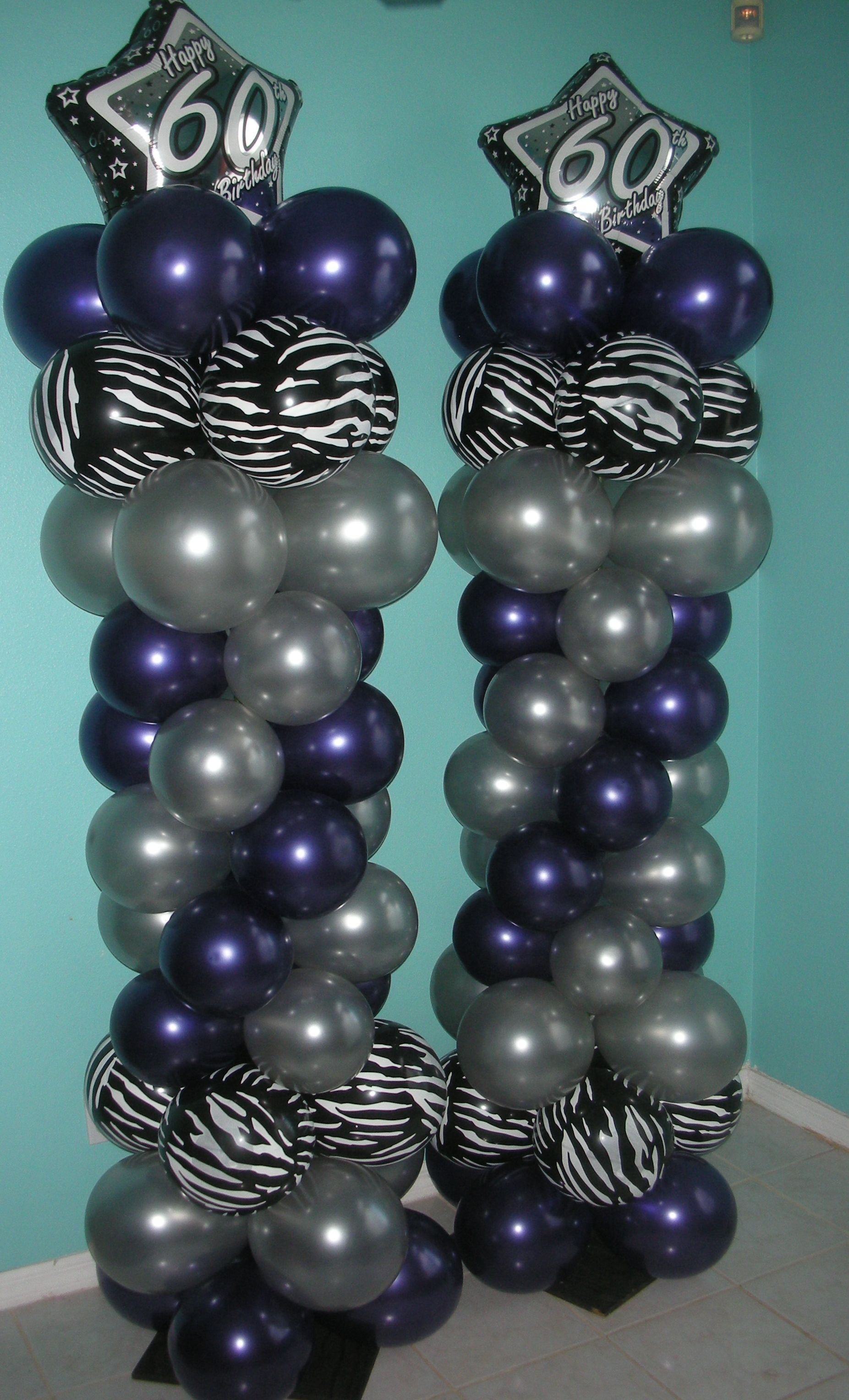 Balloon Columns For 60th Birthday Party Purple Passion Theme By Inflated Expressions