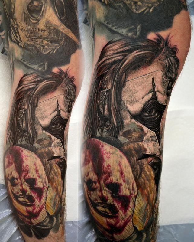 4ccf0c31d6370 Jim Root Tattoos | Jim Root Slipknot Leg Sleeve Portrait by Alan Aldred:  TattooNOW :