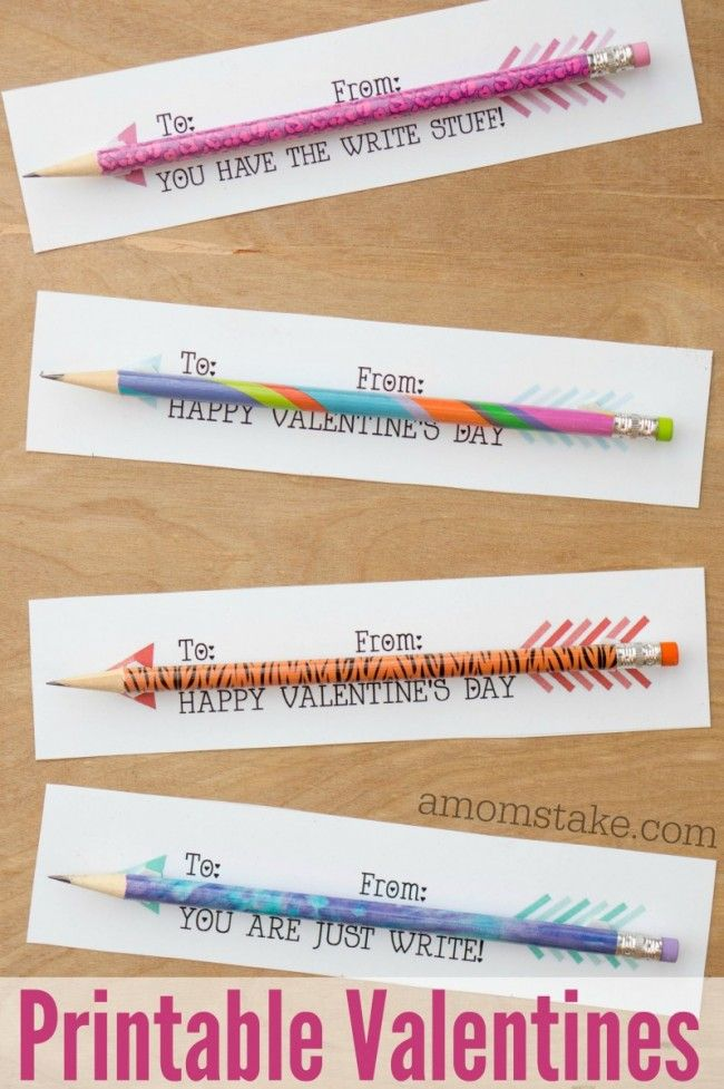 Pencil Arrows Classroom Valentines Printable – Homemade Valentine Cards for School
