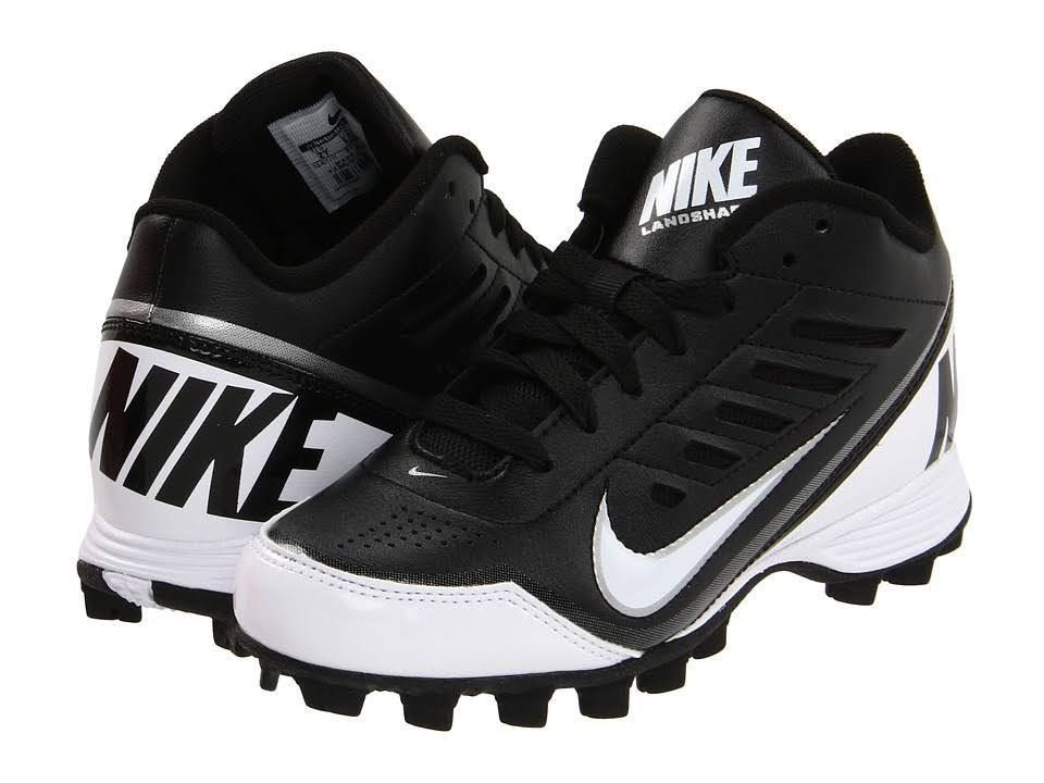 760780286 Mens Nike Land Shark 3 4 Molded Football Lacrosse Cleats Size 10  Black White  Nike  34MidMoldedFootballLacrosseCleats