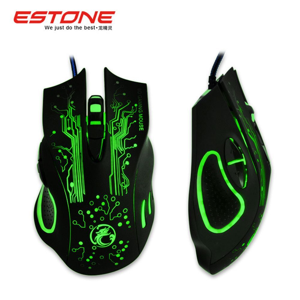 New Estone X9 2400dpi Led Optical 6d Usb Wired Game Gaming Mouse Logitech B100 Gamer For Pc Computer Laptop Perfect Upgrade Combine X5 X7