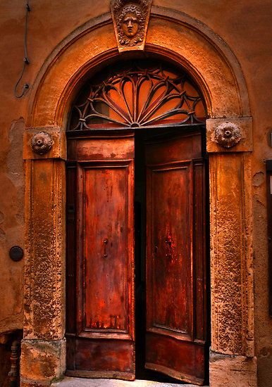 A door in the streets of Volterra, Tuscany, Italy