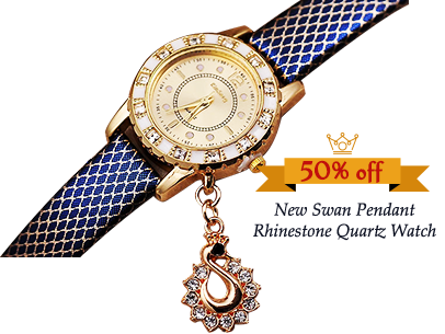 New Swan Pendant Watch Women Rhinestone Quartz Ladies WristWatch