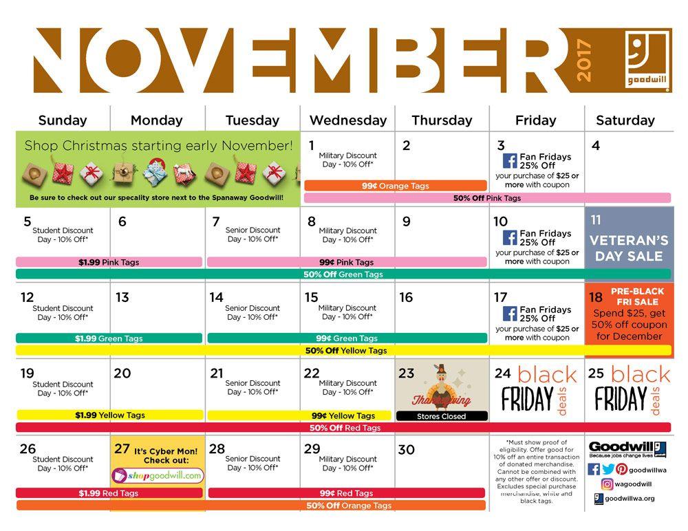Goodwill Sales Calendar 2022.Goodwill November Sales Calendar Goodwill Goodwill Shopping Goodwill Sales