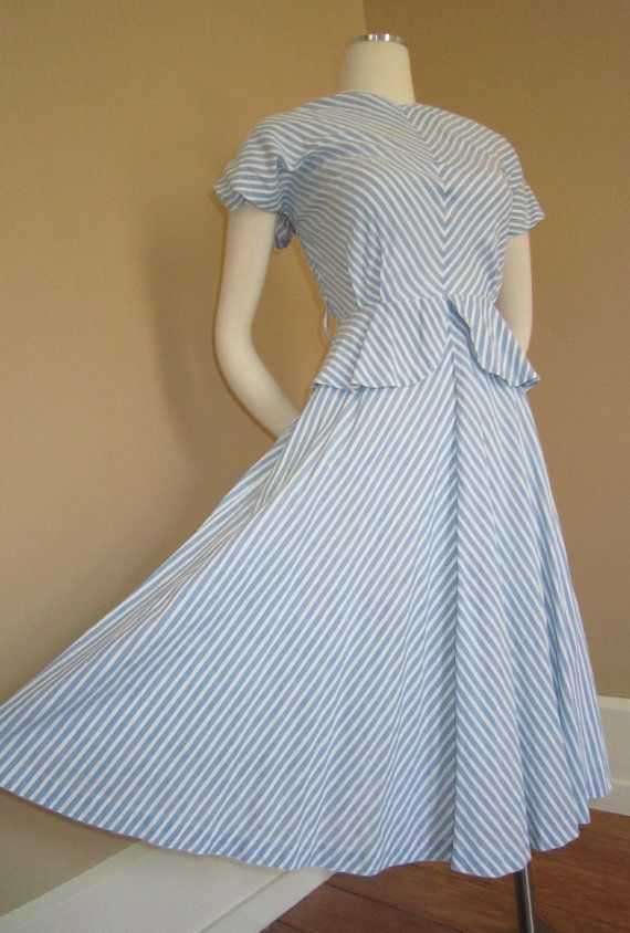 Vintage wwii 1940s ART DECO Cool Blue Stripe by 1937DryGoods, $95.00
