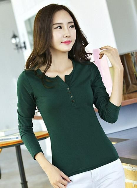 6302ec726e Item Type  Tops Tops Type  Tees Gender  Women Sleeve Length(cm)  Full Pattern  Type  Solid Brand Name  LUSMAY Style  Casual Collar  V-Neck Material  Cotton  ...