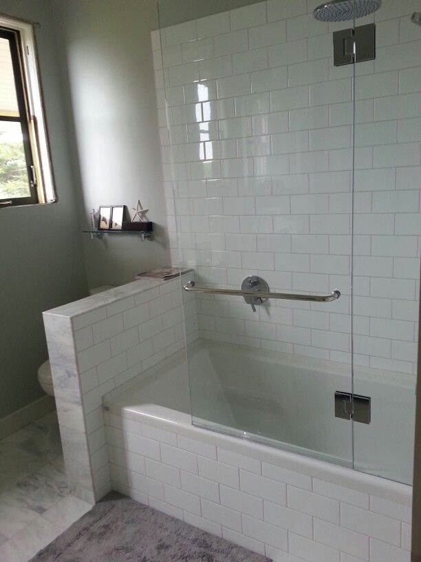 Shower Tub Combo W Gl Wall But Would Need The Half To Be Topped With Pane Too Keep Splashes From Toilet Area