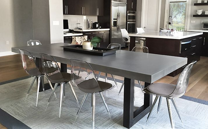 White Top With Metal Legs Custom Concrete Kitchen Dining Tables