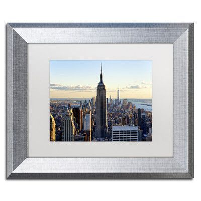 """Trademark Art """"Downtown at Sunset NY"""" by Philippe Hugonnard Framed Photographic Print Size: 11"""" H x 14"""" W x 0.5"""" D"""