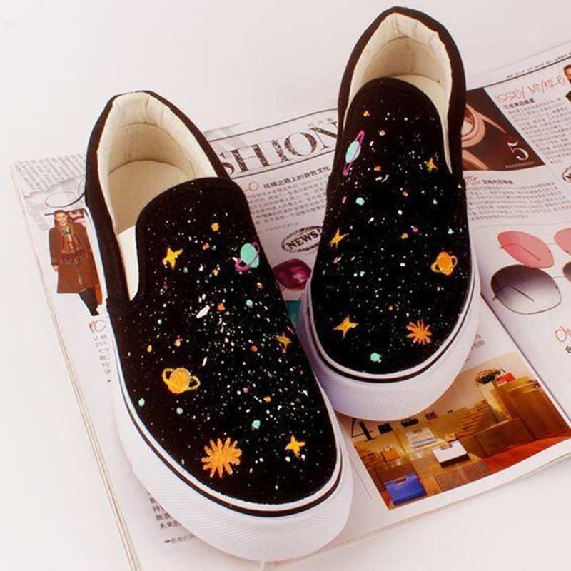Harajuku Galaxy Hand-Painted Canvas Shoes KF10080 #shoes