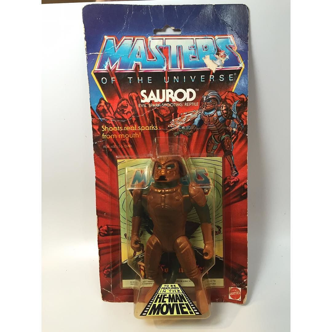 From dat terrible MOTU Movie! 1987 Saurod!! He has creases all over card and there's some  yellowing to bubble. Some very mild lift off bubble from card near bottom edges. Bubble is dent and crack free.  Edge wear. $100 shipped. PayPal and US ship only. Claim below and then DM me to finalize order. #Saurod #heman #80smovies #mastersoftheuniverse by fartoys_vintage