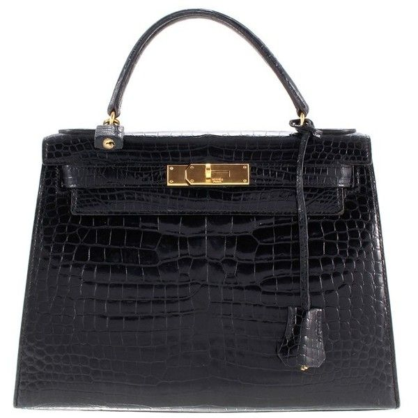 6e07072e852 Pre-owned Kelly Bag made of crocodile leather ($18,510) ❤ liked on Polyvore  featuring bags, black, crocodile leather bag, hermès, pre owned bags, ...