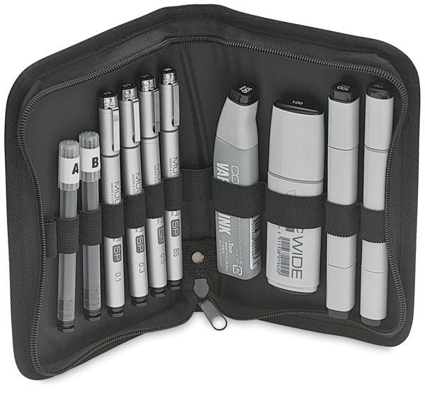 Black Zippered Tran Products Studio Double-Ended Marker Storage Case