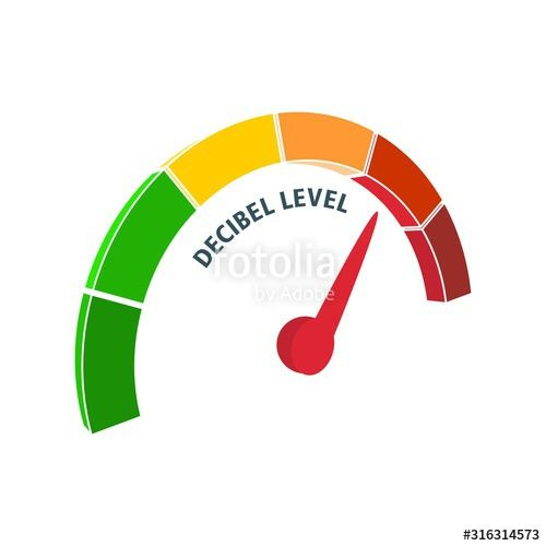 A device for measuring the sound intensity in decibels Infographic gauge element Isometric level scale from green to red with arrow