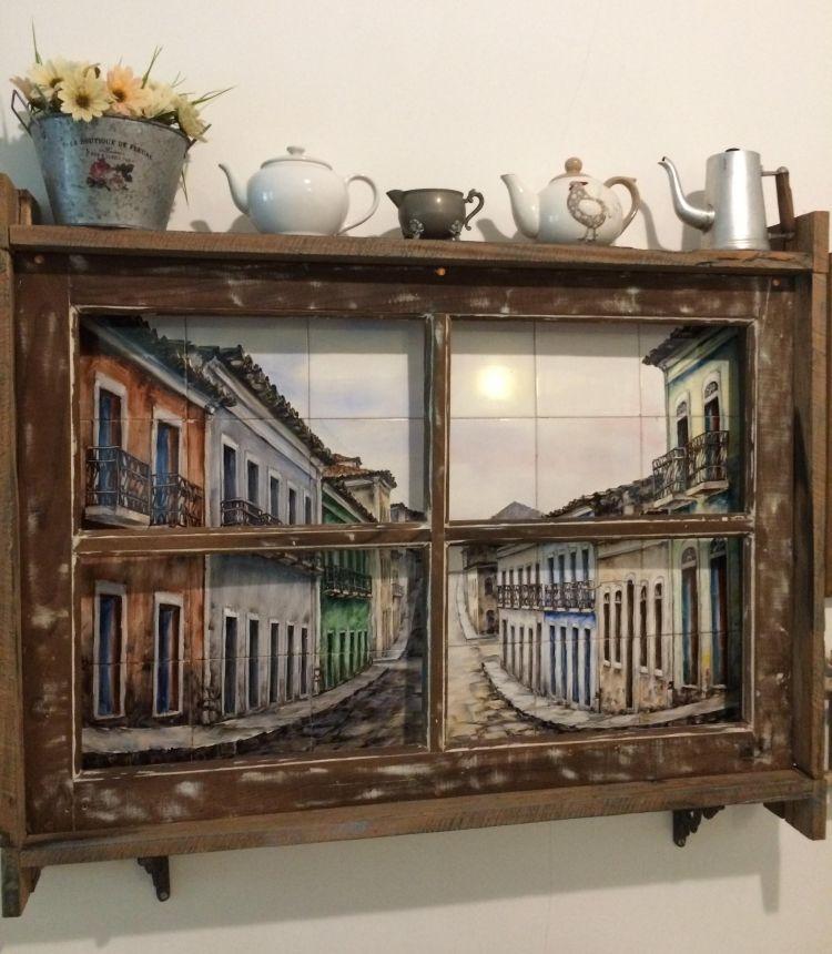 Alte Fenster Dekoration Vintage Teeekanen Klein Bild Blumen Schoen