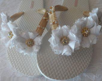 5b7fc0c88f182d ... Ivory Wedding Flip Flops Chiffon Leaf Flip Flops Bridal flip Flops  Beach Pearl Rhinestone Flip Flops ...