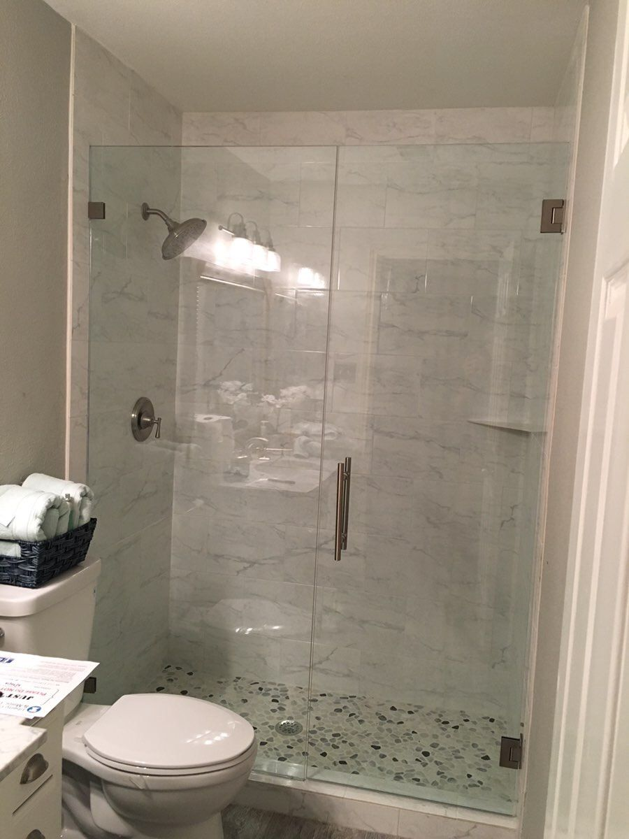 Frameless Door And Inline Panel With 8 Ladder Pull Handle And Brushed Nickel Finish Frameless Shower Enclosures Frameless Shower Shower Enclosure