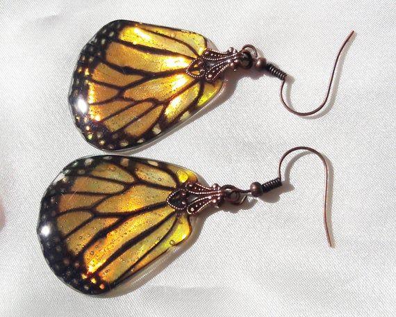 monarch butterfly earrings, real butterfly wings hippy jewelry, unique gifts for women, iridescent earrings jewelry gift, wanderlust jewelry – Products