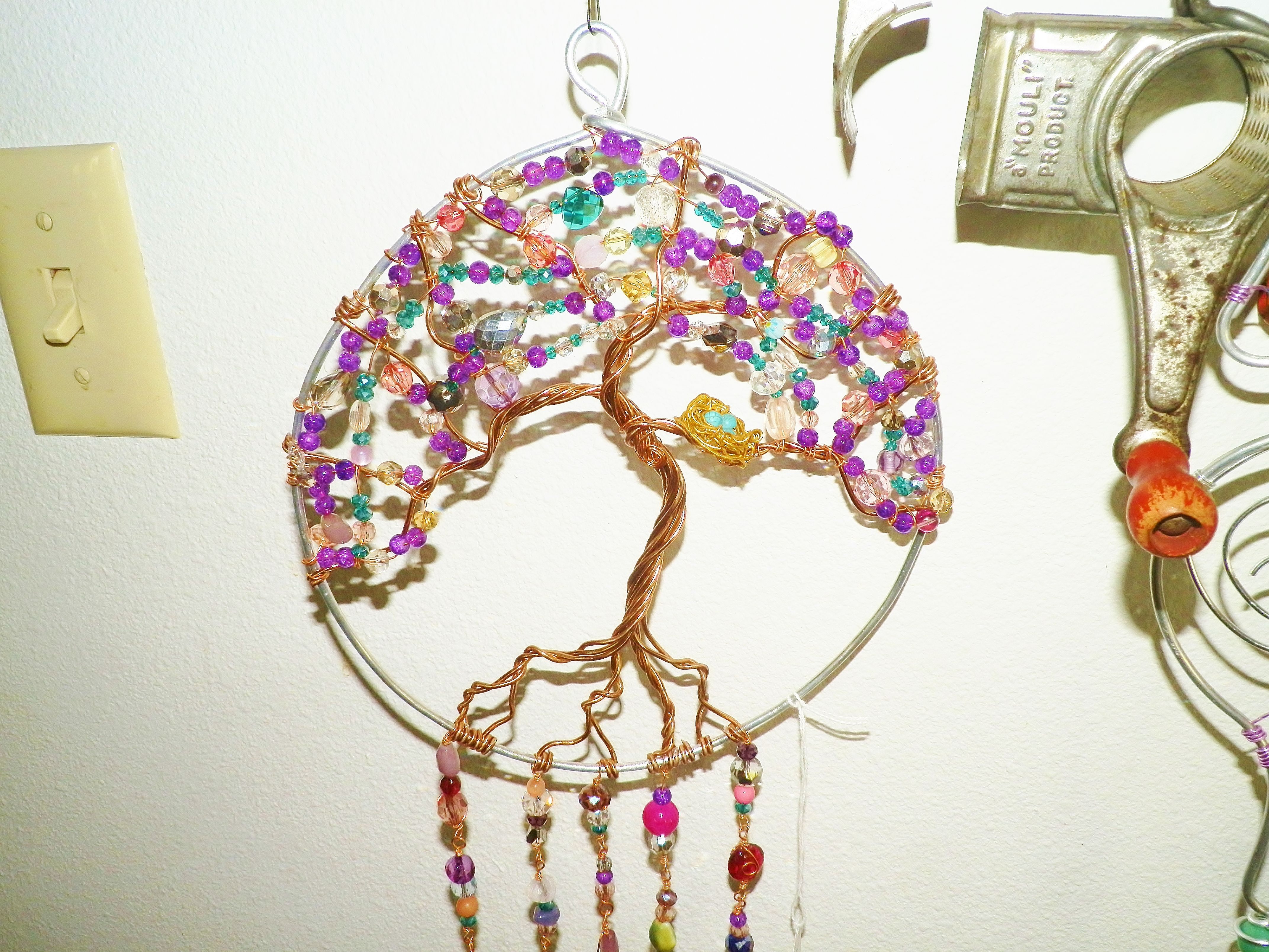 Tree Of Life, Sun Catcher, With Birds Nest, Garden Art, Wire Wrapped