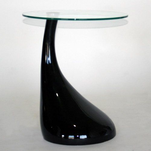 Cain Glass Top Abstract Accent Table in Black by Laflat ...