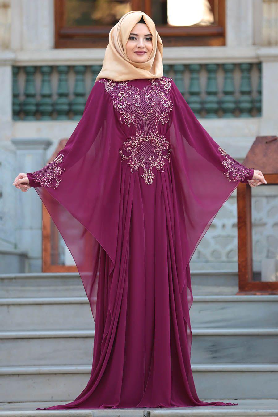 6cc592a297520 2018 Yeni Sezon Özel Tasarım Abiye - Tesettürlü Abiye Elbise - Boncuk  Detaylı Mürdüm Tesettür Abiye Elbise 105MU