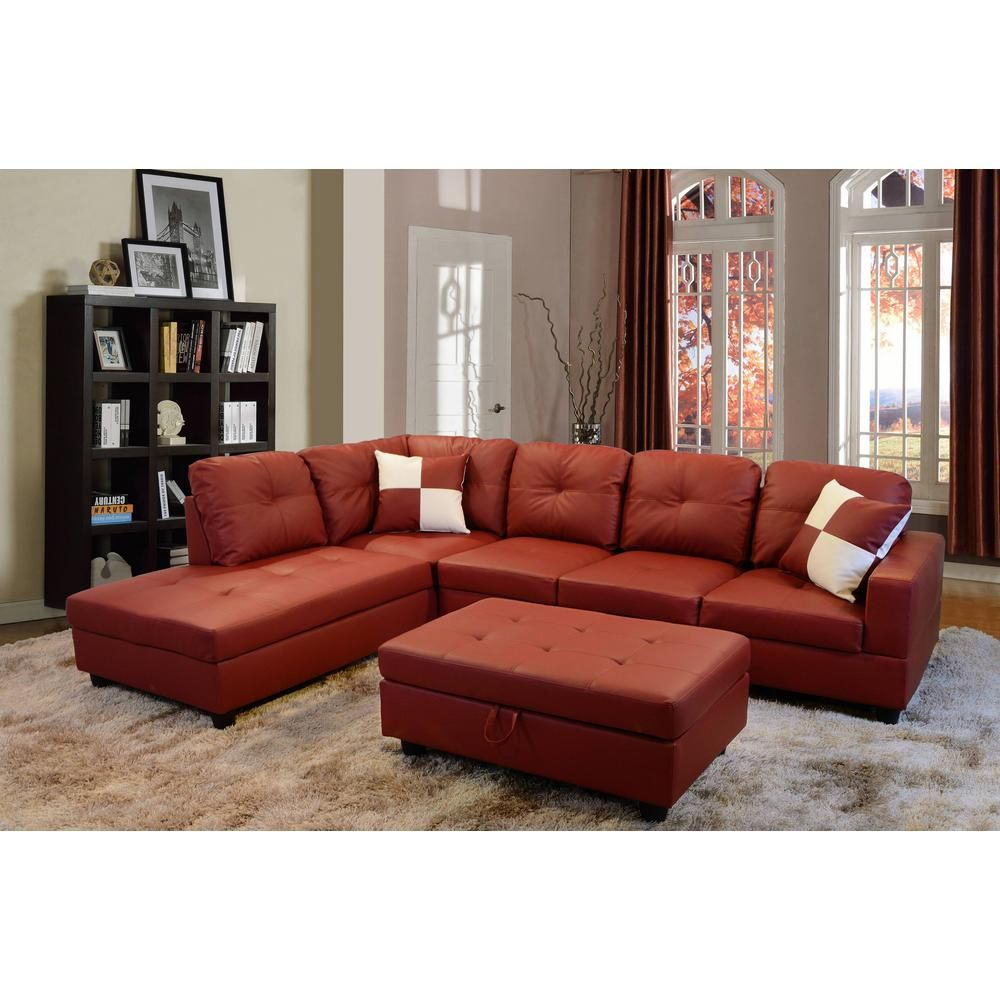 Red Faux Leather Left Chaise Sectional With Storage Ottoman Sh094a