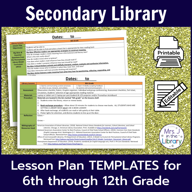 Secondary School Library Lesson Plan Templates Mrs J In The Library Library Lesson Plans Library Lessons School Library Lessons