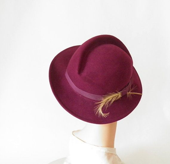 Vintage woman's fedora hat, plum with feather, Doeskin felt on Etsy, $54.00