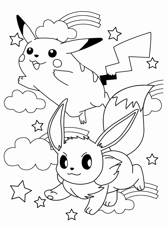 Pokemon Pikachu Y Evoli Eevee Gif 569 768 Coloriage Pikachu Coloriage Kawaii Coloriage Pokemon