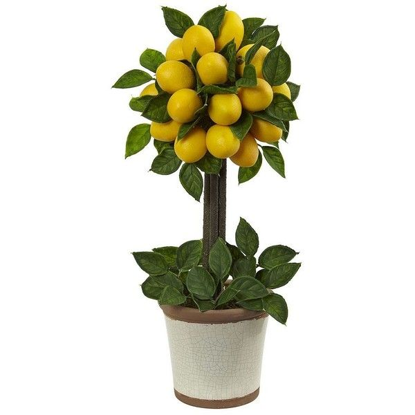 Nearly Natural Artificial Lemon Tree, Yellow (120 CAD) ❤ Liked On Polyvore  Featuring