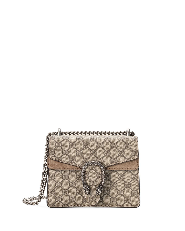 31189fcb4d57 Gucci Mini Dionysus GG Supreme Shoulder Bag, Ebony/Taupe (Ebony/Brown)