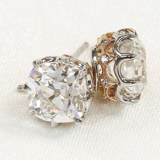 A recent and very special pair of #antique cushion cut and single cut platinu...