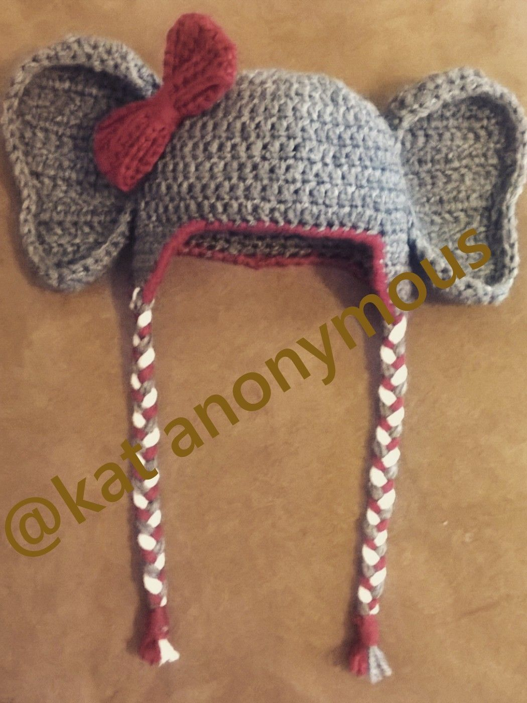 Crochet Alabama Elephant Earflap Hat (2nd post) Ear flap hat pattern : http://allicrafts.blogspot.com/2011/01/free-pattern-baby-earflap-hat-3-months.html?m=1 Bow pattern modified from here: http://www.craftinessisnotoptional.com/2013/01/easy-crochet-bow-tutorialpattern.html Couldn't find a pattern I liked for ears, but this is what I did: Crocheted by K Olds 12/15/15. Using 2 strands of worsted weight yarn and I/9 hook, Chain 7. R1: Dc 3rd Ch from hook and each ...