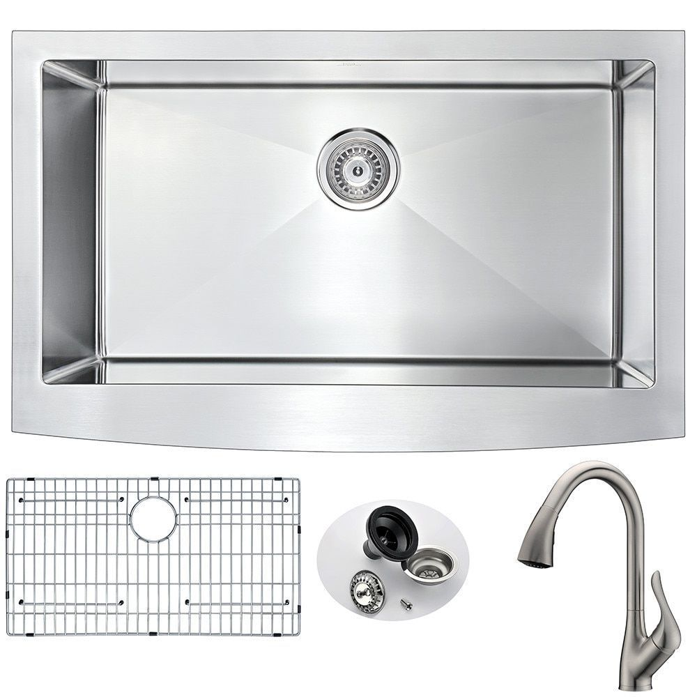 anzzi elysian farmhouse stainless steel 32 inch 0 hole kitchen sink and faucet set - Kitchen Sink And Faucet Sets