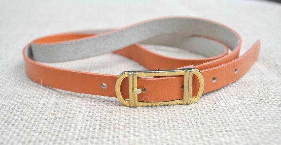 Women's Vintage Leather Skinny Belt Pumpkin Orange by talkOfThetown, $12.00