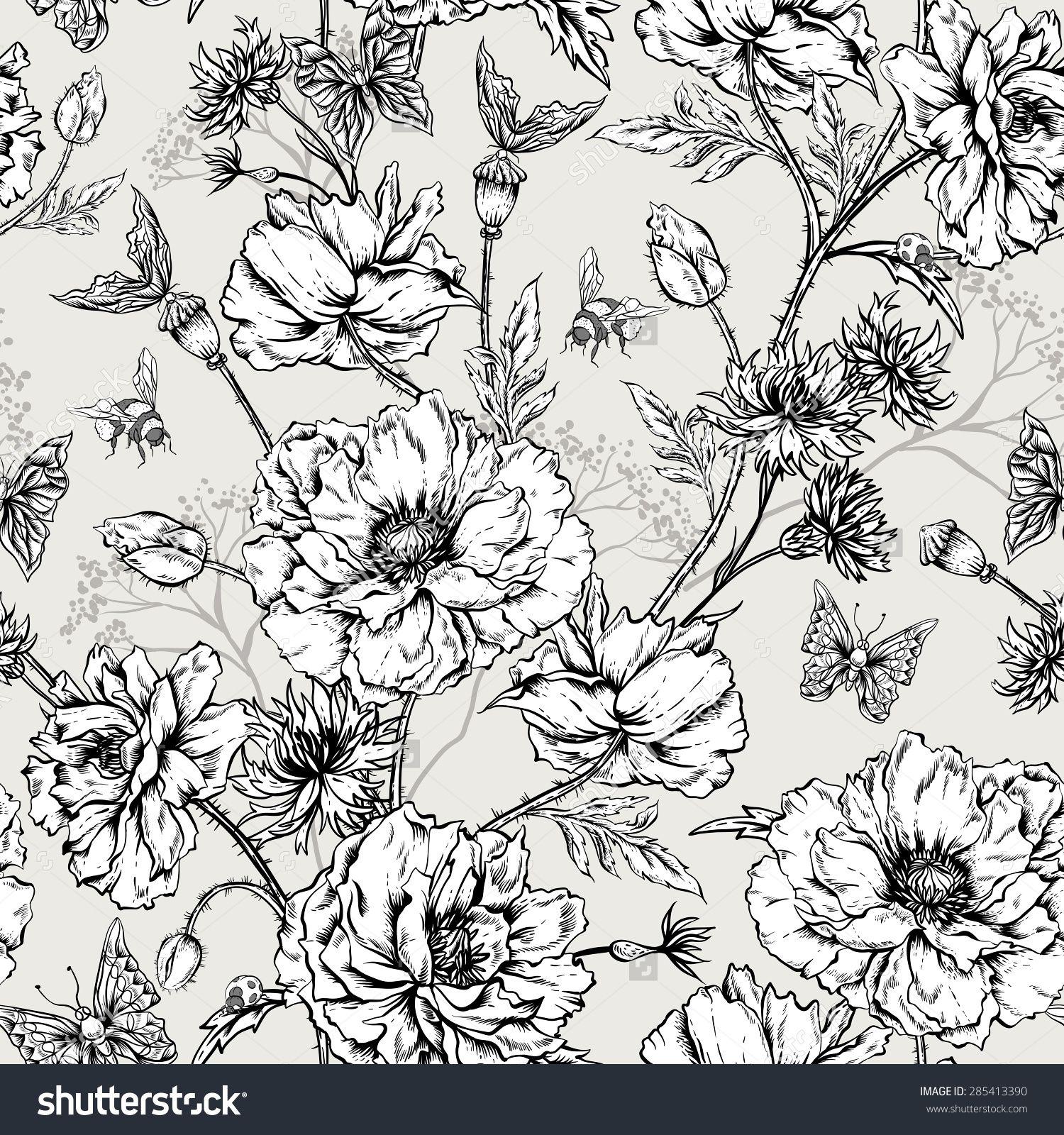 Stock Vector Summer Monochrome Vintage Floral Seamless Pattern With Blooming Poppies Cornflowers Ladybird 28541339 Bloemen Tekenen Kleurboek Botanische Prenten