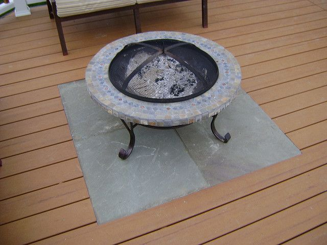In Set Slate Fire Pit On Wood Deck Deck Fire Pit Fire Pit Deck Protector