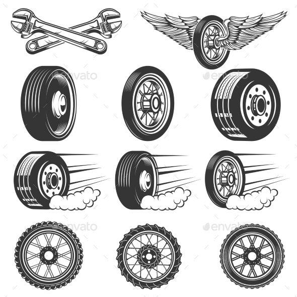 Tire Service Set Of Car Tires Illustrations Inspiration