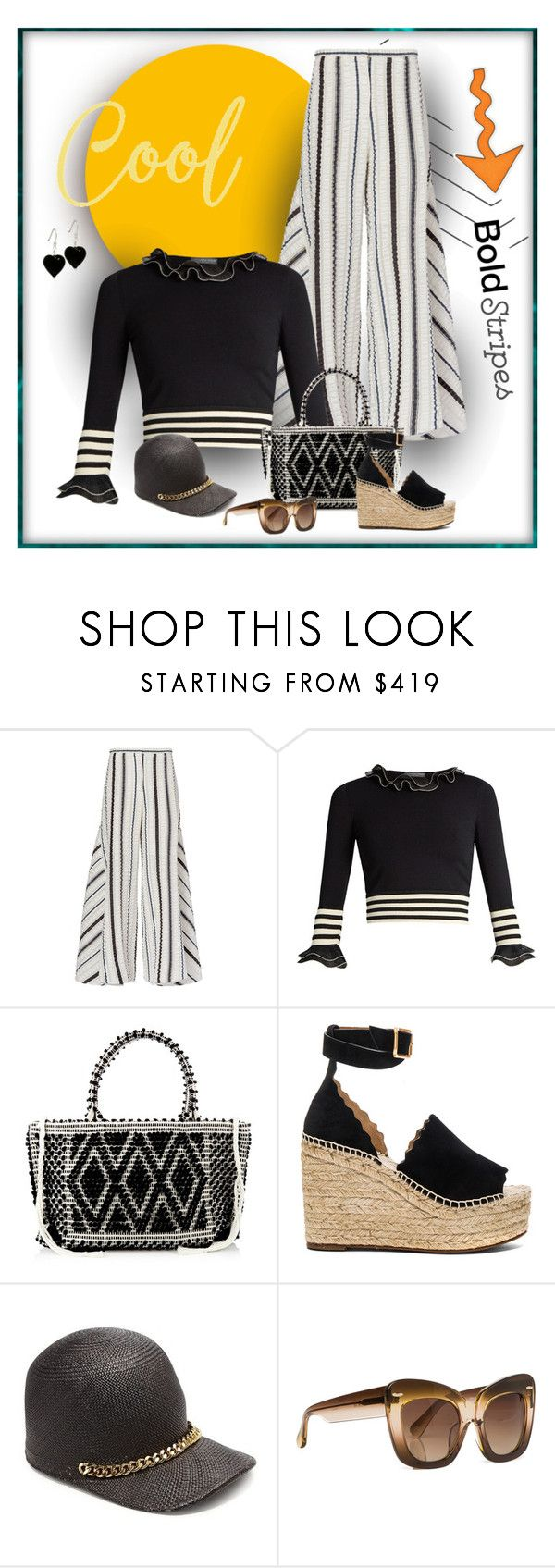 """""""Ruffled Sweet"""" by michelletheaflack ❤ liked on Polyvore featuring Peter Pilotto, Alexander McQueen, Antonello Tedde, Chloé, STELLA McCARTNEY, Erdem, stripedpants, polyvorecontests and styleinsider"""
