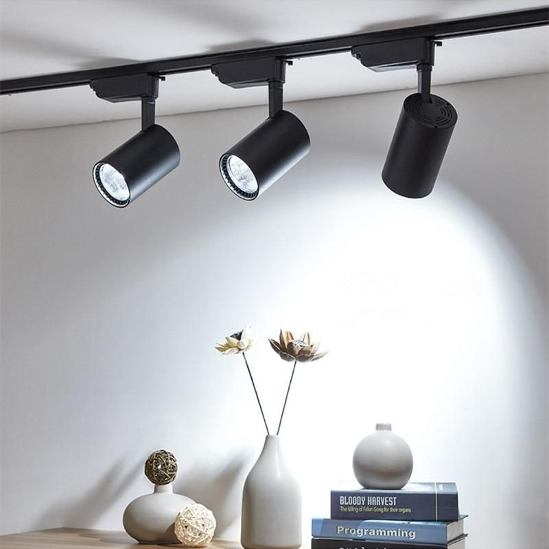 12w 20w 30w Led Track Light Aluminum Ceiling Rail Track Lighting In 2020 Ceiling Lights Track Lighting Halogen Lamp