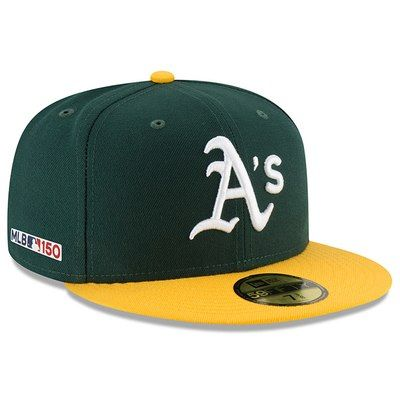 37abafaf Men's New Era Green/Yellow Oakland Athletics Home MLB 150th Anniversary  Authentic Collection 59FIFTY Fitted Hat