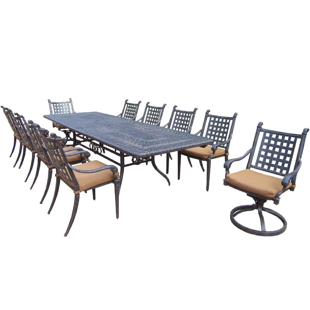Vermont Extendable Garden Table And Chair Set: Dining Set With Extendable Table, Sunbrella Chairs And
