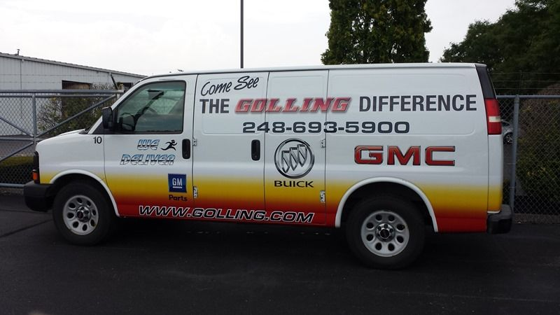 Golling Van   Logos and Company Information on the sides and rear     Golling Van   Logos and Company Information on the sides and rear  Gradient  in Company Colors going from Red to Orange to Yellow