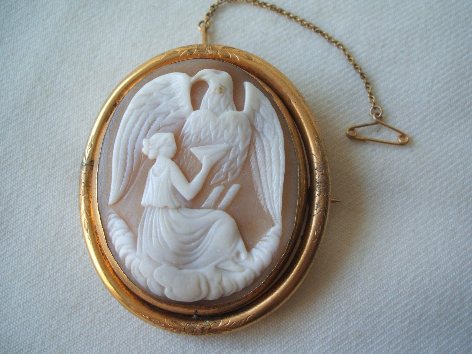 Very Nice Antique Victorian Carved Shell Cameo Brooch Mourning Locket | eBay