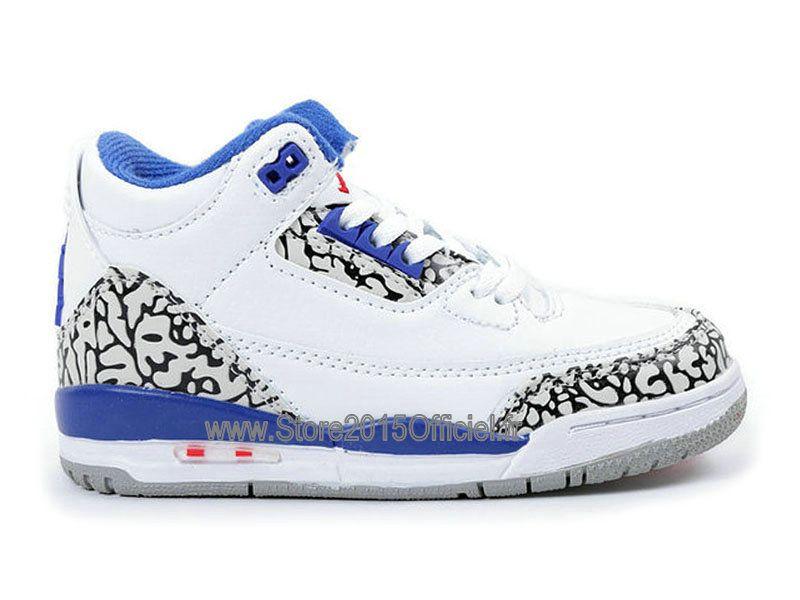 d001dc6ad517 Air Jordan 3 Retro Kids´s Basket Jordan Officiel Pas Cher Chaussure Pour  Petit Garcon Blanc Bleu