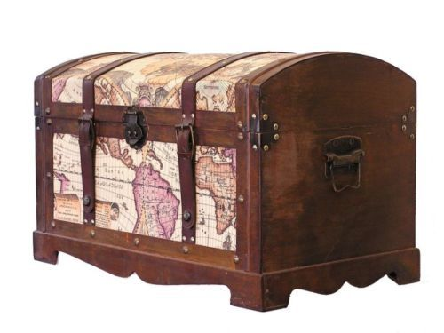 Large Old Fashioned Wood Storage Trunk Wooden Treasure Chest
