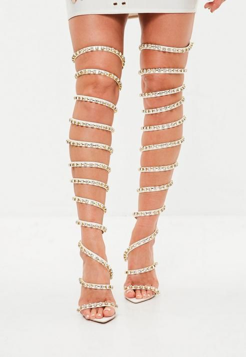 fashion online here big discount Missguided Slinky Embellished High Leg Heel | Legs heels