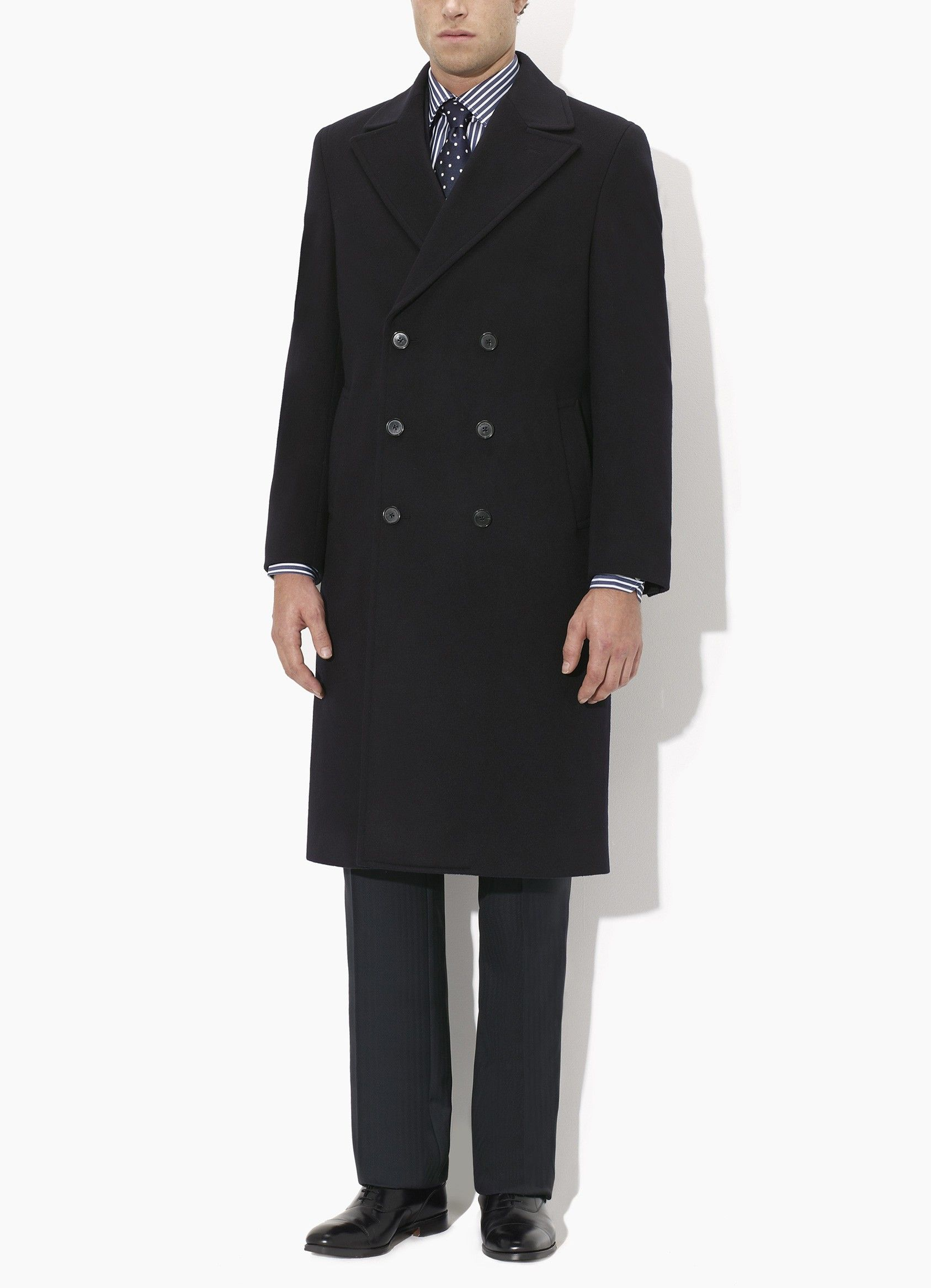 Another beautiful coat by Crombie. Its becoming so hard to choose which I want to buy, though I'm leaning towards the Camel overcoat. | Crombie Navy Classic Double-Breasted Coat, Slim Fit